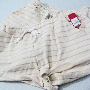 Xhiliration Women's Cotton Shorts Sz M White Strip